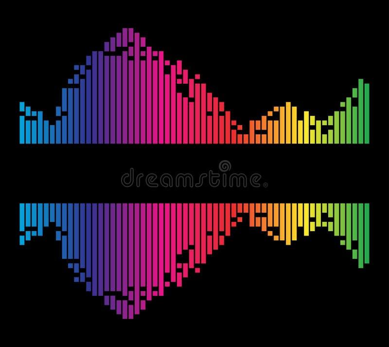 Красочная striped волна музыки звука выравнивателя изолированная на черном ба иллюстрация вектора