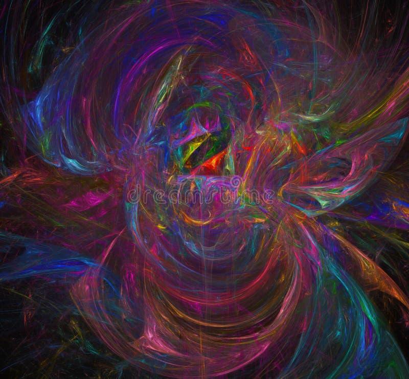 Красочное абстрактное изображение фрактали обои Творческое цифровое художественное произведение иллюстрация вектора