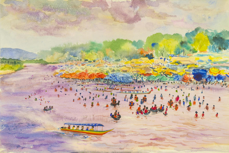 Красочное ландшафта акварели первоначально рынка портового района иллюстрация вектора