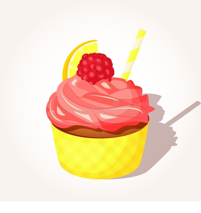 Красочное вкусное пирожное лимона при розовая сливк и поленика в стиле шаржа изолированные на белой предпосылке вектор бесплатная иллюстрация