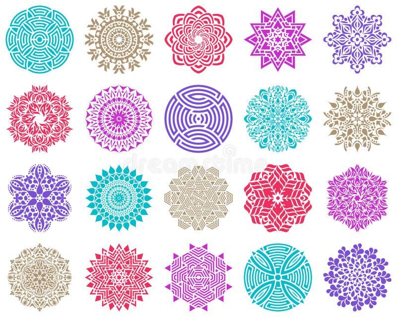 Красочное геометрическое круглое абстрактное собрание мандалы бесплатная иллюстрация