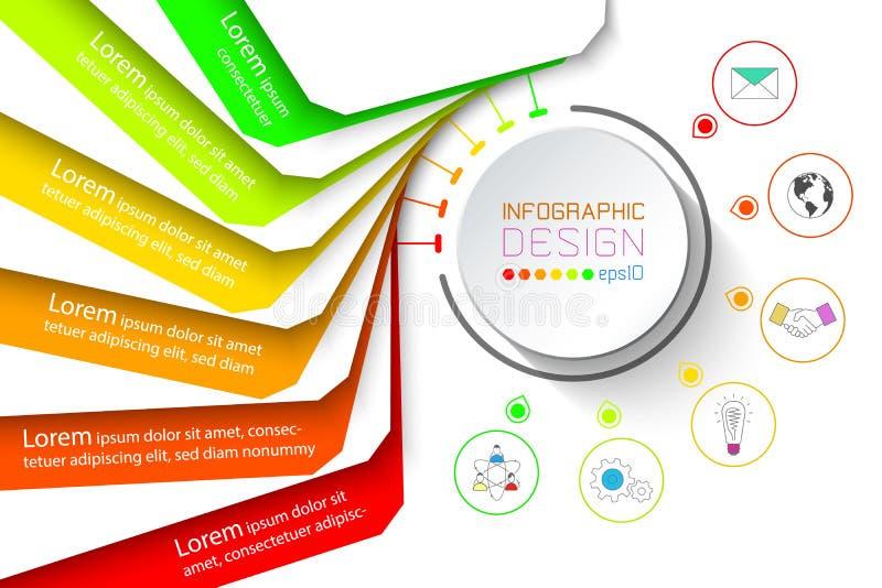 Красочное дело знамени infographic с 6 шагами бесплатная иллюстрация