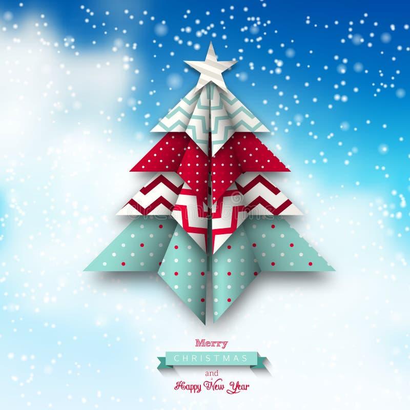 Красочное дерево chritmas origami, тема праздников иллюстрация вектора