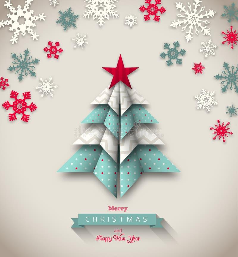 Красочное дерево origami, абстрактное рождество иллюстрация штока