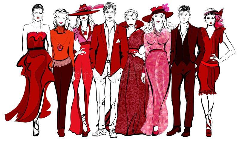 Красочное дефиле женщин и людей моды иллюстрация вектора