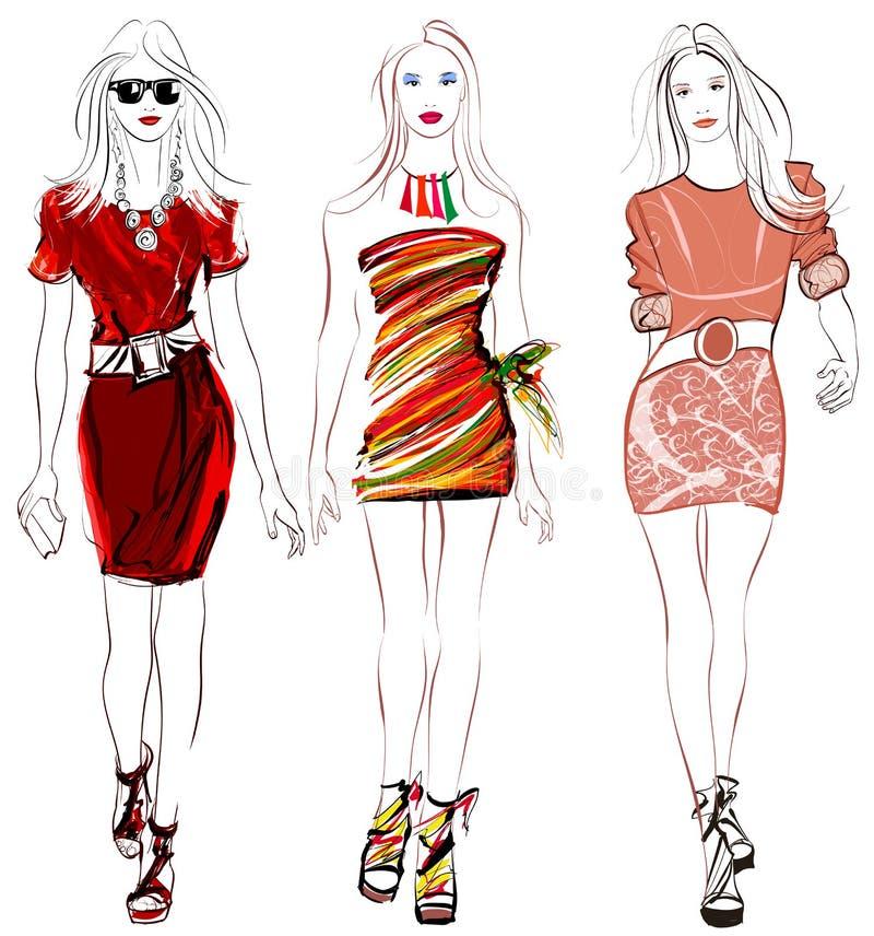 Красочное дефиле женщин моды иллюстрация штока