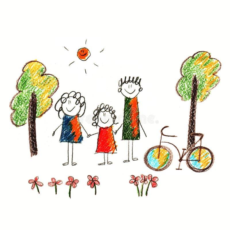 Красочное изображение велосипеда и счастливой семьи иллюстрация штока