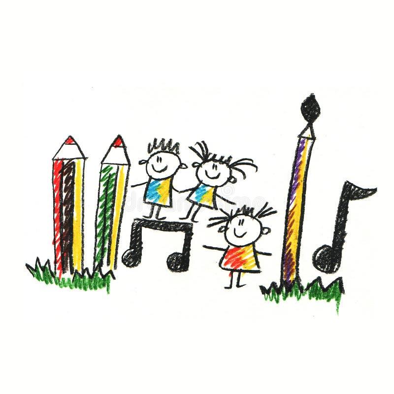 Красочное изображение с счастливыми детьми бесплатная иллюстрация