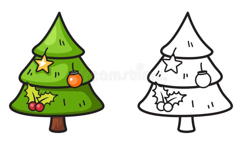 Красочное и черно-белое дерево x-mas для книжка-раскраски иллюстрация вектора