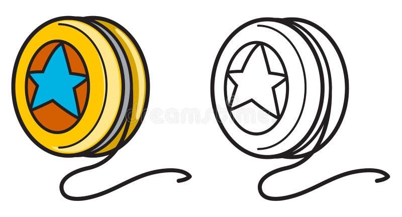 Красочное и черно-белое йойо для книжка-раскраски бесплатная иллюстрация