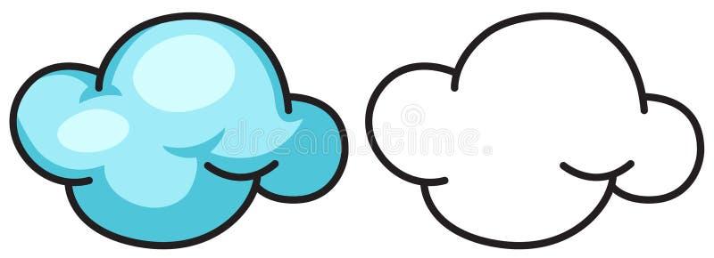 Красочное и черно-белое облако для книжка-раскраски иллюстрация вектора