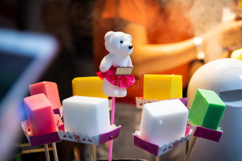 Красочное мороженое в крупном плане магазина стоковое изображение rf