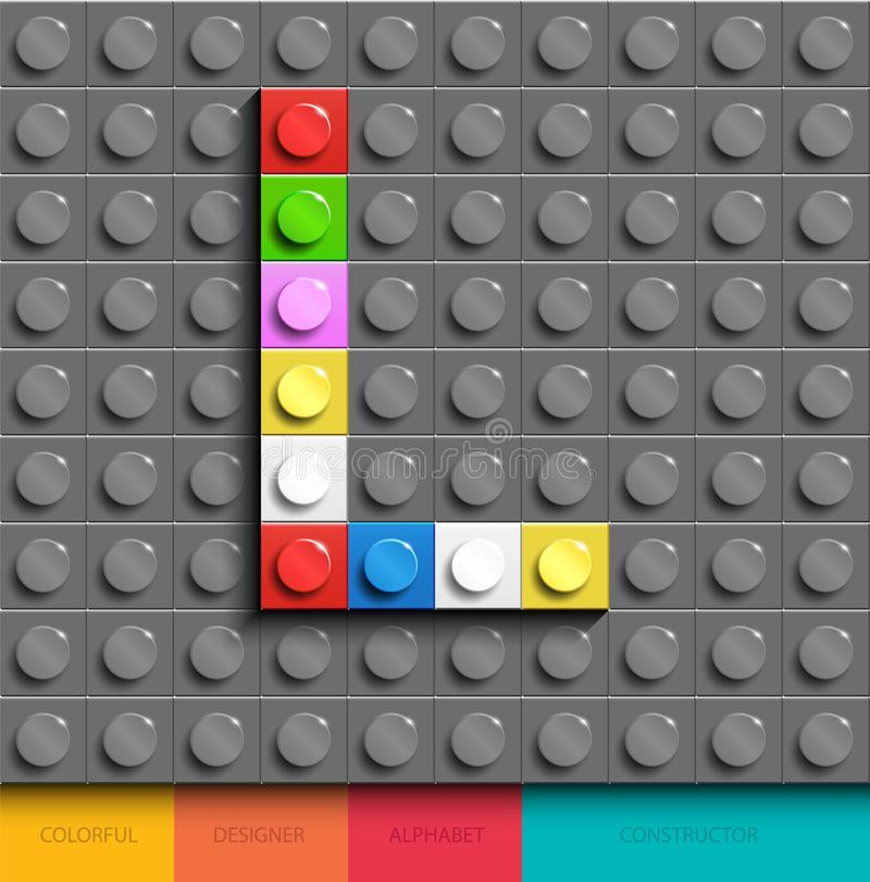 Красочное письмо l от кирпичей lego здания на серой предпосылке lego Письмо m Lego бесплатная иллюстрация