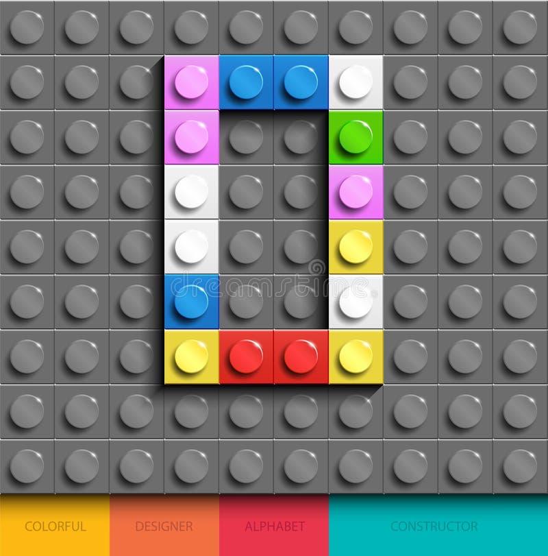 Красочное письмо o от кирпичей lego здания на серой предпосылке lego Письмо m Lego иллюстрация штока