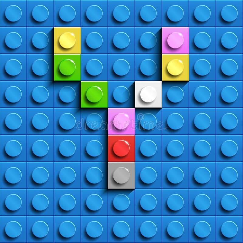 Красочное письмо y от кирпичей lego здания на голубой предпосылке lego Письмо m Lego иллюстрация вектора