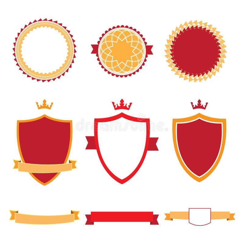 Красочное плоское собрание значков дизайна Значки вектора, ярлыки и знамена ленты иллюстрация штока