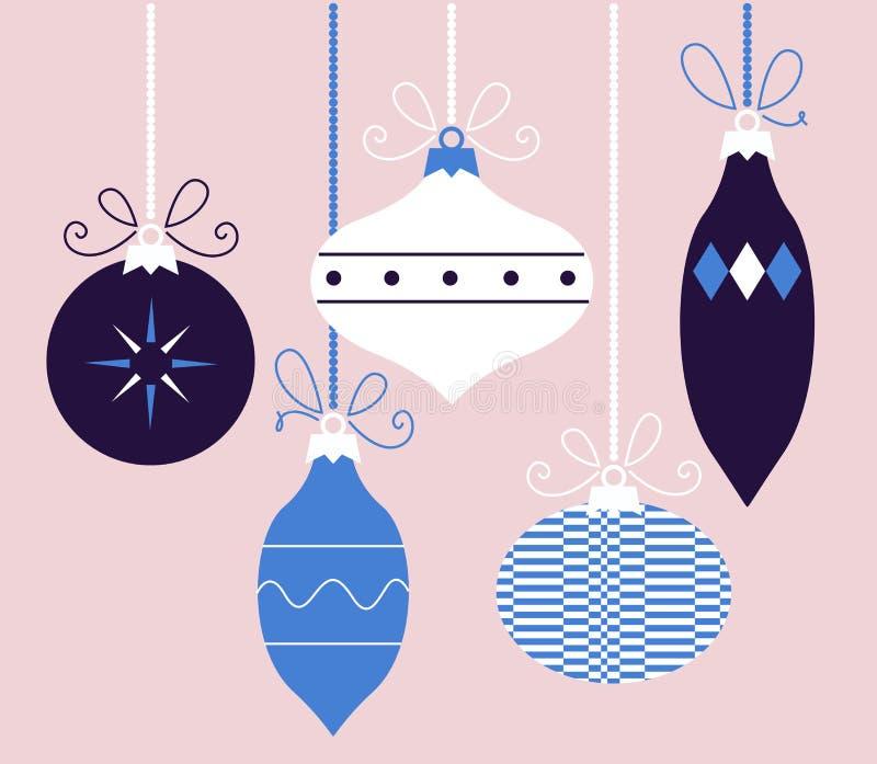 Красочное ретро собрание шариков рождества (голубое) иллюстрация штока