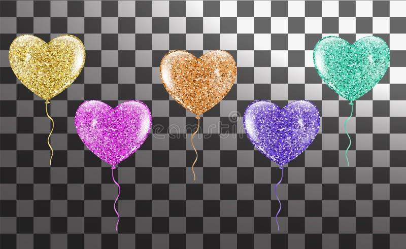 Красочное сердце раздувает собрание иллюстрация штока