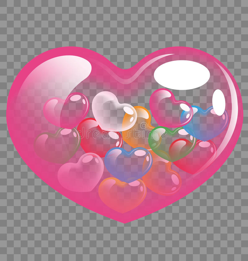 Красочное сердце раздувает для дня валентинки и концепции свадьбы иллюстрация штока