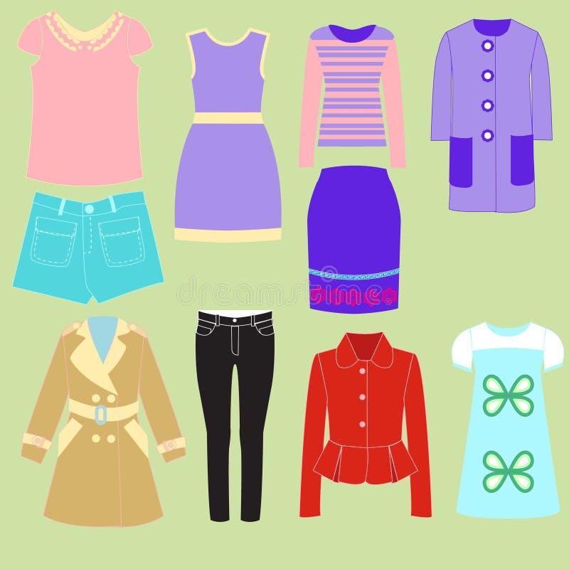 Красочное собрание комплекта одежд для девушек иллюстрация вектора