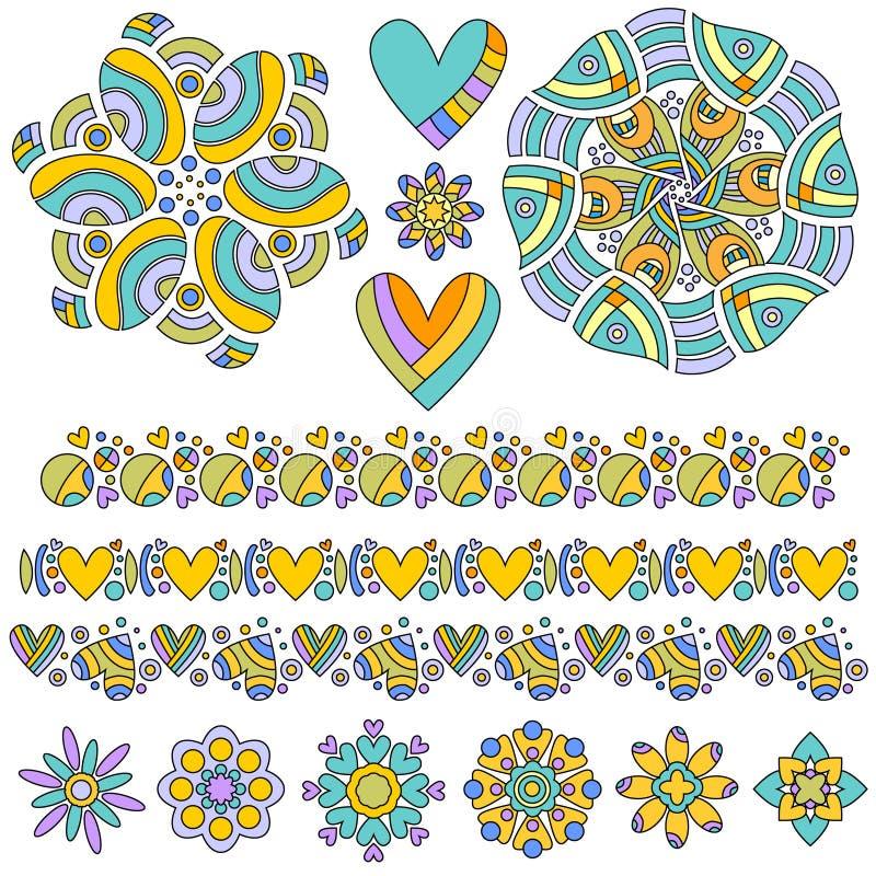 Красочное собрание орнамента и отделки иллюстрация штока