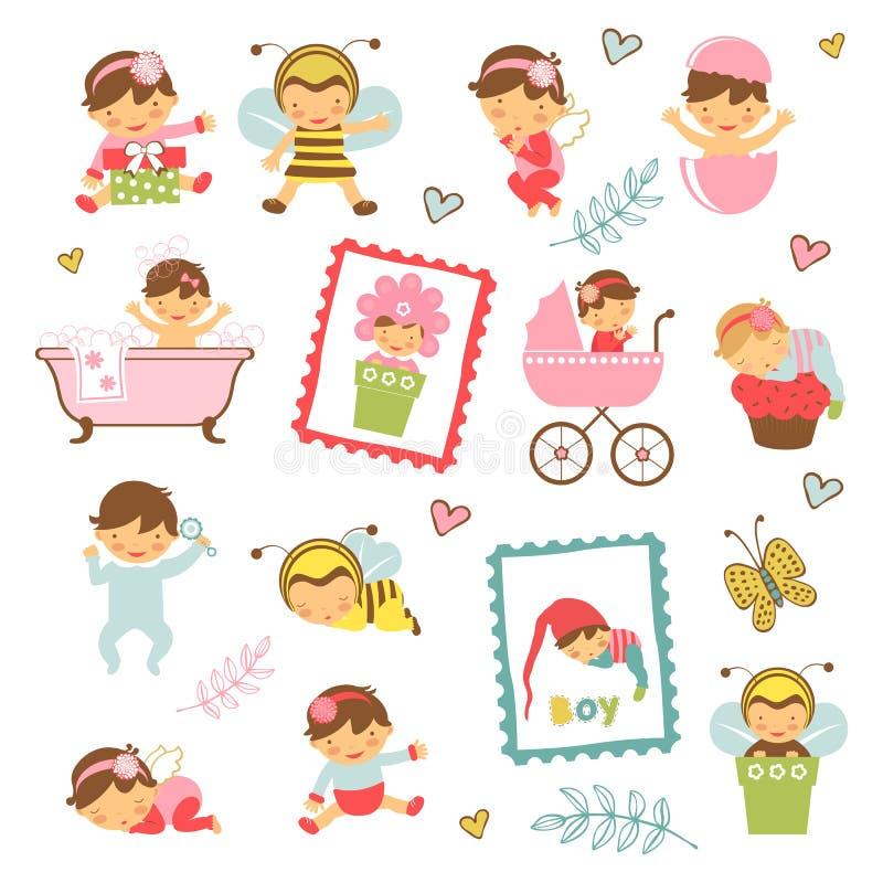 Красочное собрание прелестных младенцев иллюстрация штока
