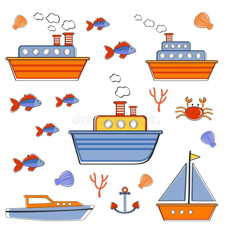 Красочное собрание шлюпок и кораблей иллюстрация вектора