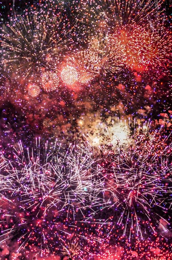 Красочное торжество шоу фейерверка 4-го июля стоковые изображения