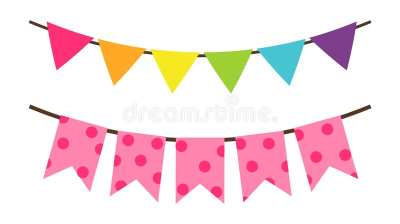 Красочное украшение флага дня рождения для вектора партии иллюстрация вектора