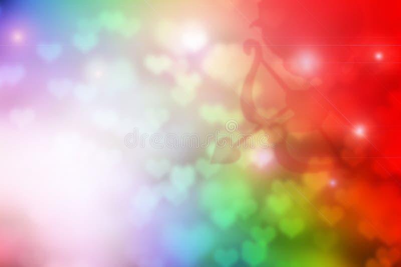 Красочное bokeh сердца с тенью купидона для предпосылки Валентайн стоковая фотография rf