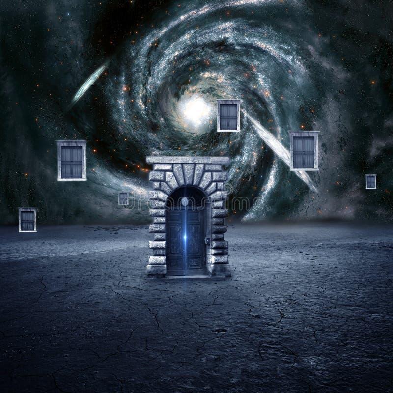 Красочное 3d представляя Electrifying ворота которое водит к другому размеру бесплатная иллюстрация