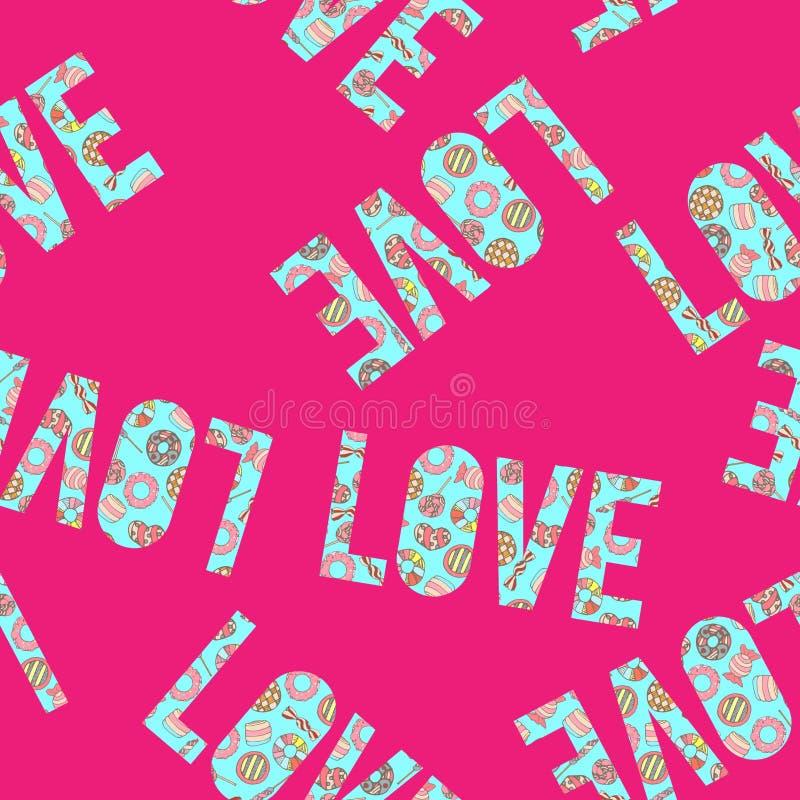Красочной и милой нарисованный рукой вектор картины сладостного стиля конфеты винтажного безшовный иллюстрация штока