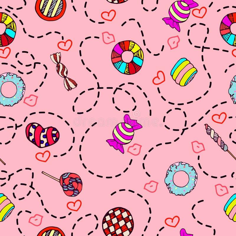 Красочной и милой нарисованный рукой вектор картины сладостного стиля конфеты винтажного безшовный иллюстрация вектора
