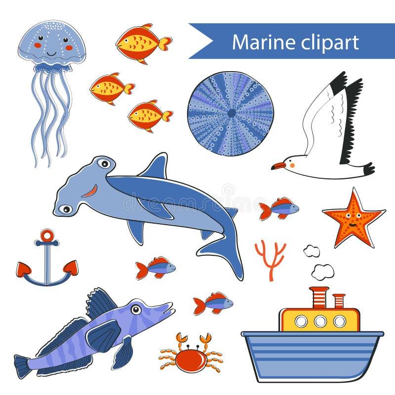 Красочной морской clipart нарисованное рукой бесплатная иллюстрация