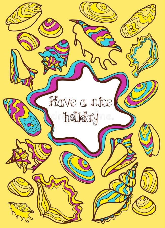 Красочной открытка нарисованная рукой с seashells бесплатная иллюстрация
