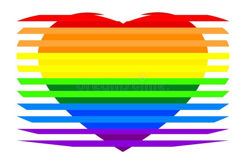 Красочной striped радугой цвета сердца LGBTQ, изолированные на белой прозрачной предпосылке иллюстрация вектора
