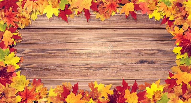 Красочно листья осени на деревянной предпосылке стоковые изображения