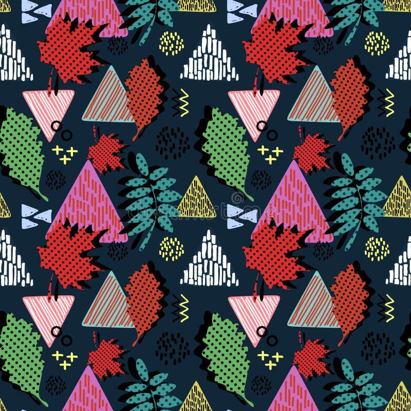 Красочные абстрактные листья осени с картиной формы треугольника геометрической Безшовная иллюстрация вектора предпосылки для обо иллюстрация вектора