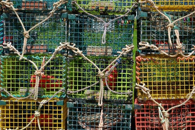 Красочные баки и ловушки омара стоковое фото rf