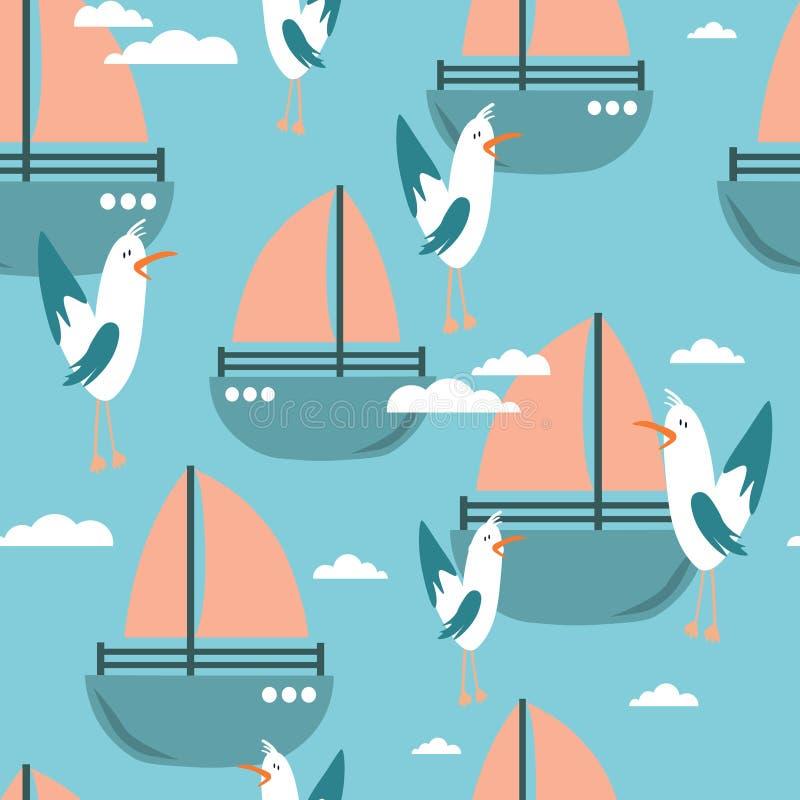 Красочные безшовные картина, птицы и шлюпки Декоративные милые предпосылка, чайки и яхты иллюстрация штока