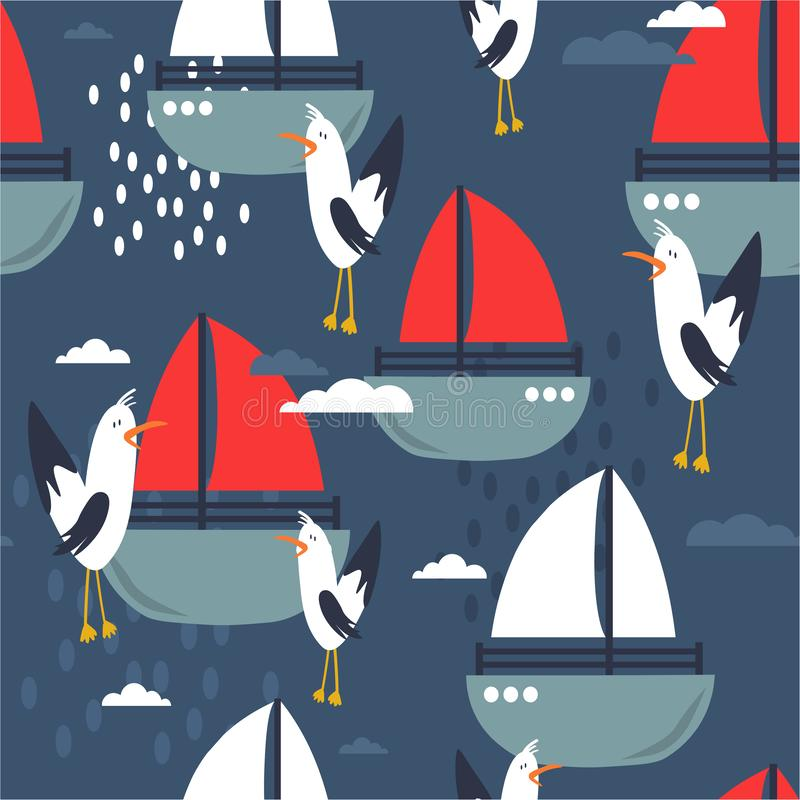 Красочные безшовные картина, чайки и шлюпки Декоративные милые предпосылка, птицы и море бесплатная иллюстрация