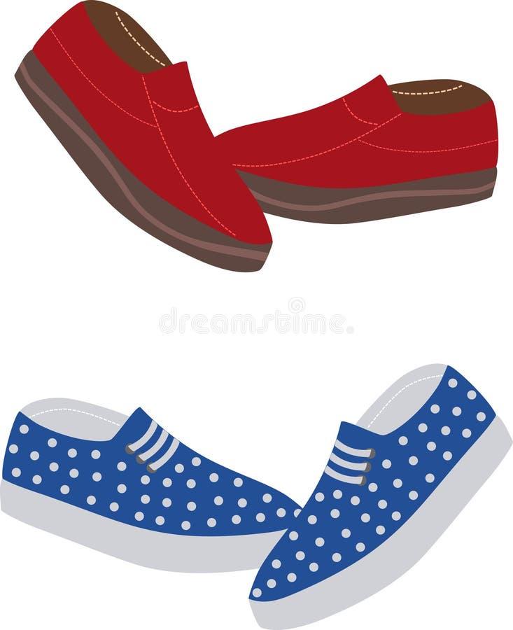 Красочные ботинки loafer на белой предпосылке иллюстрация вектора
