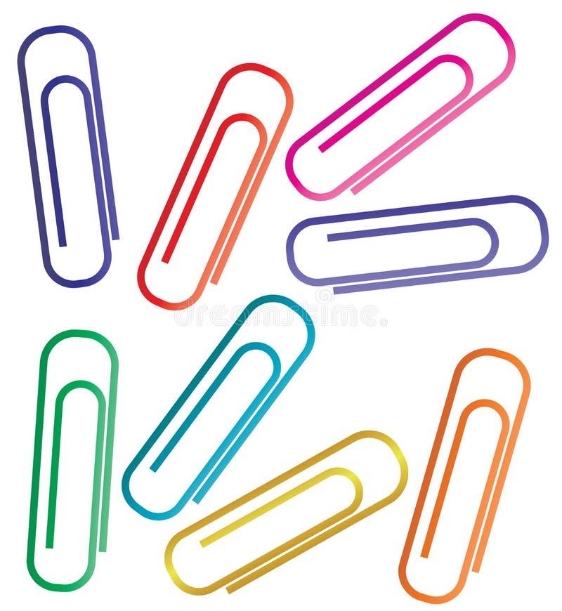Красочные бумажные зажимы установили изолированный на белой предпосылке иллюстрация штока