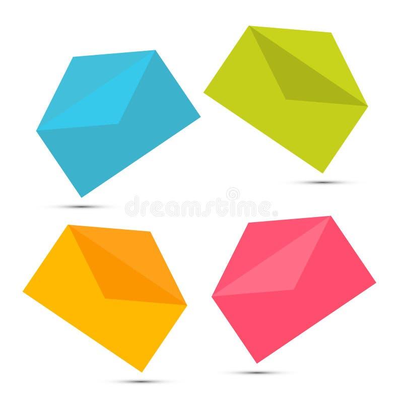 Красочные бумажные установленные значки конверта иллюстрация вектора
