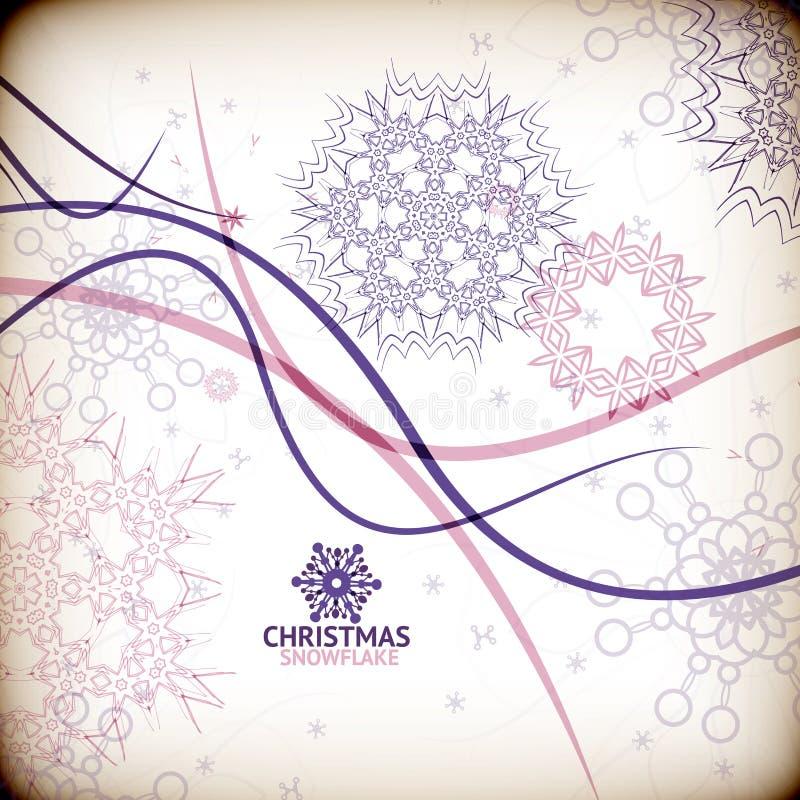 Красочные винтажные свирли снежинки/рождественская открытка иллюстрация вектора