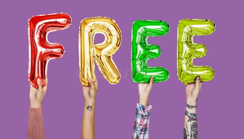 Красочные воздушные шары алфавита формируя слово свободно стоковое изображение