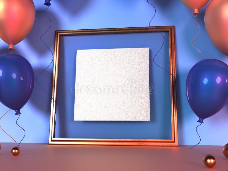 Красочные воздушные шары рядом с золотой картинной рамкой перед стеной r иллюстрация вектора