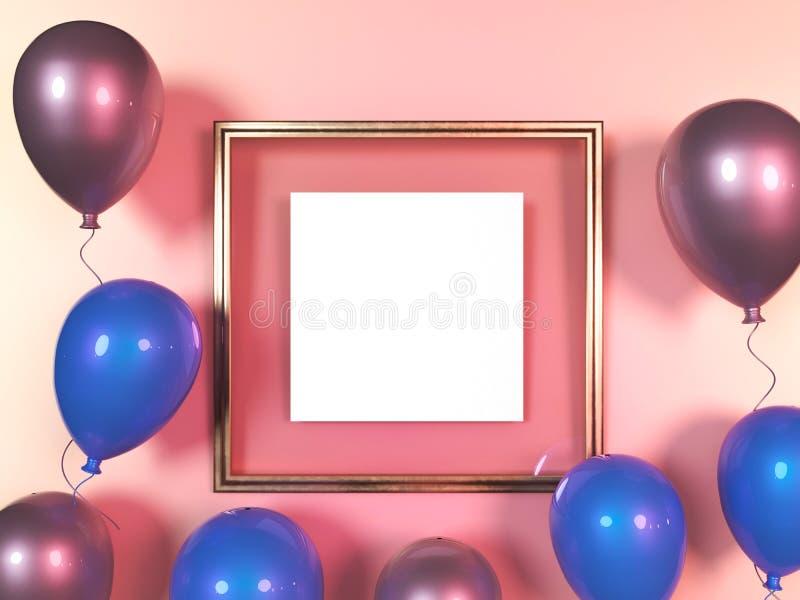 Красочные воздушные шары рядом с золотой картинной рамкой перед стеной r бесплатная иллюстрация