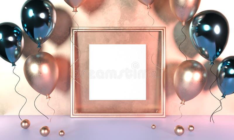 Красочные воздушные шары рядом с золотой картинной рамкой перед стеной r Насмешка вверх по золотой картинной рамке o иллюстрация штока