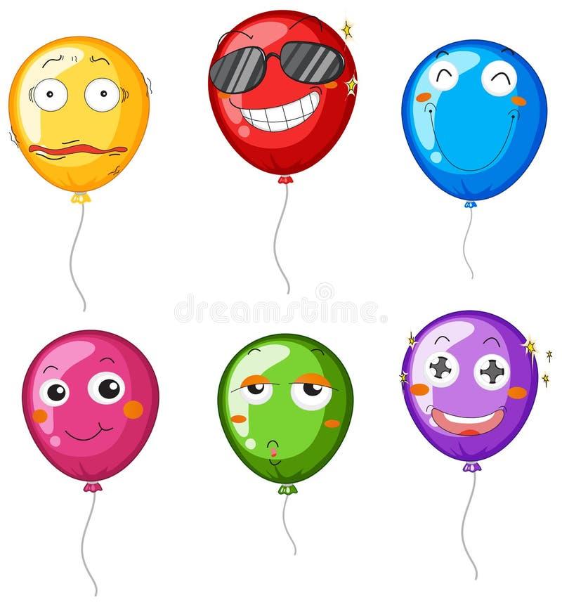 Красочные воздушные шары с различными лицевыми эмоциями иллюстрация штока